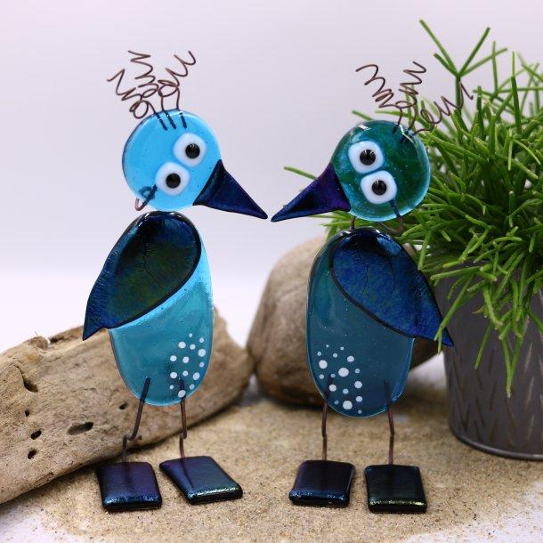Fugle i blåt glas