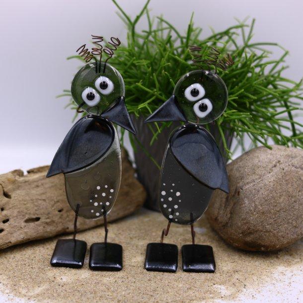 Fugle i gråt og sort glas
