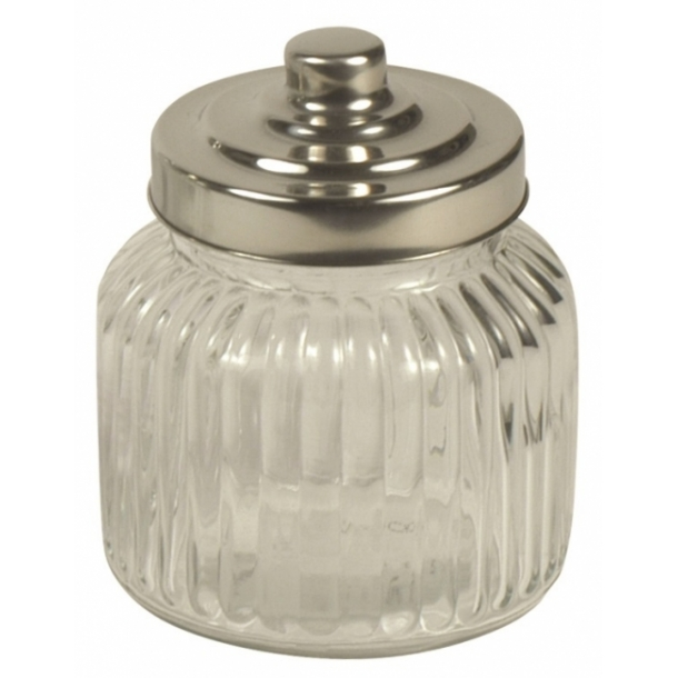 Rundt opbevaringsglas med riller - mini