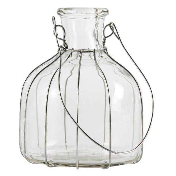 Flaske til bedelys eller blomster med wire