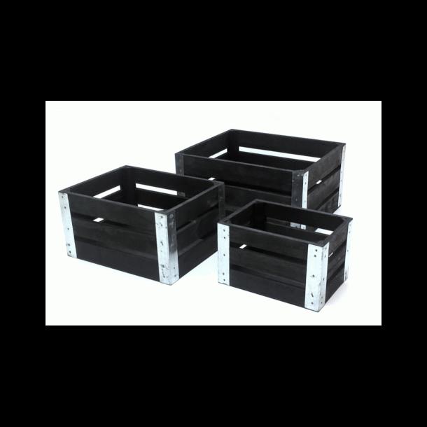 Trækasser sæt 3 stk. sort med metal kant