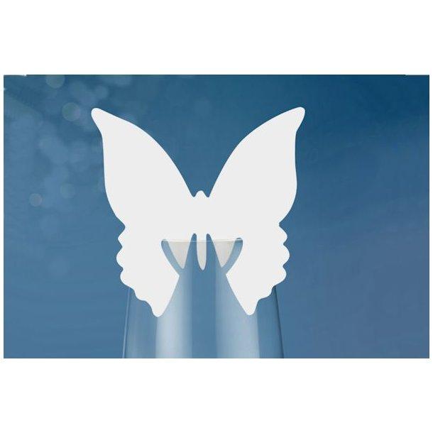 Bordkort sommerfugl lille hvid 10stk