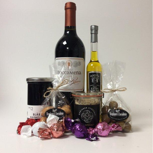 Gavepose med vin og delikatesser