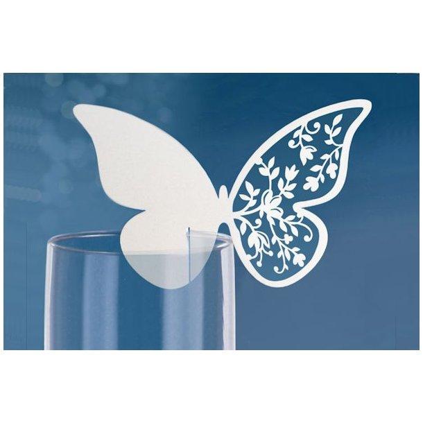 Bordkort sommerfugl stor hvid 10stk