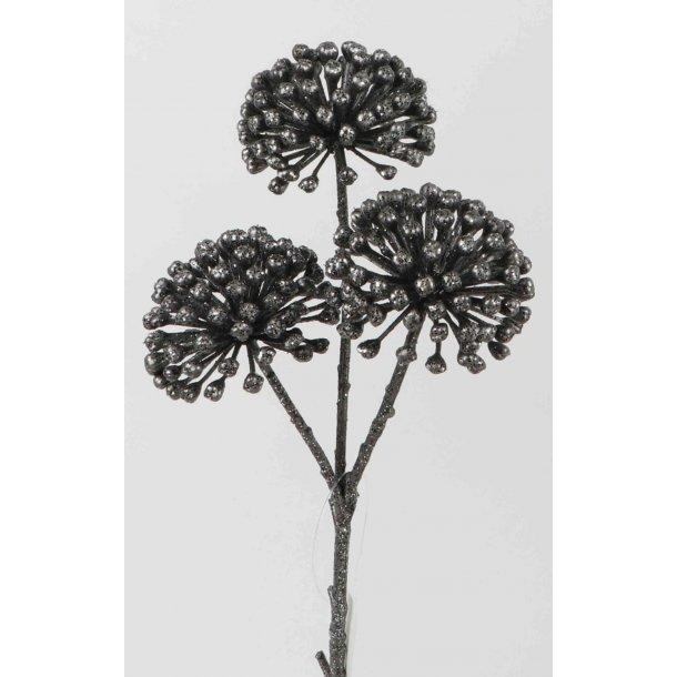 Blomst sort med glimmer