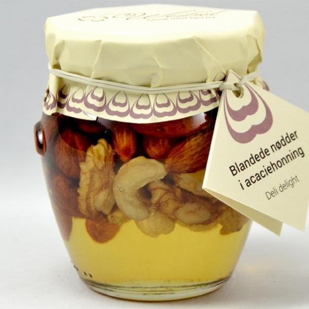 Blandede nødder i Acaciehonning