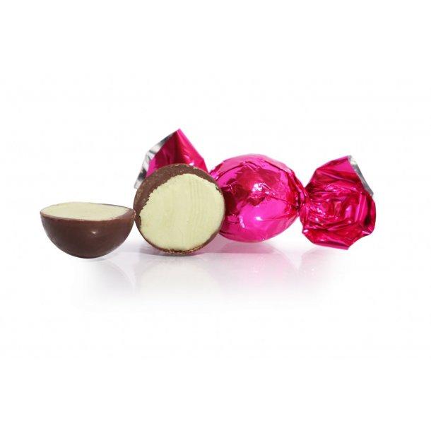 Fyldt Cocoture chokoladekugle i pink mørk chokolade m/pistacie