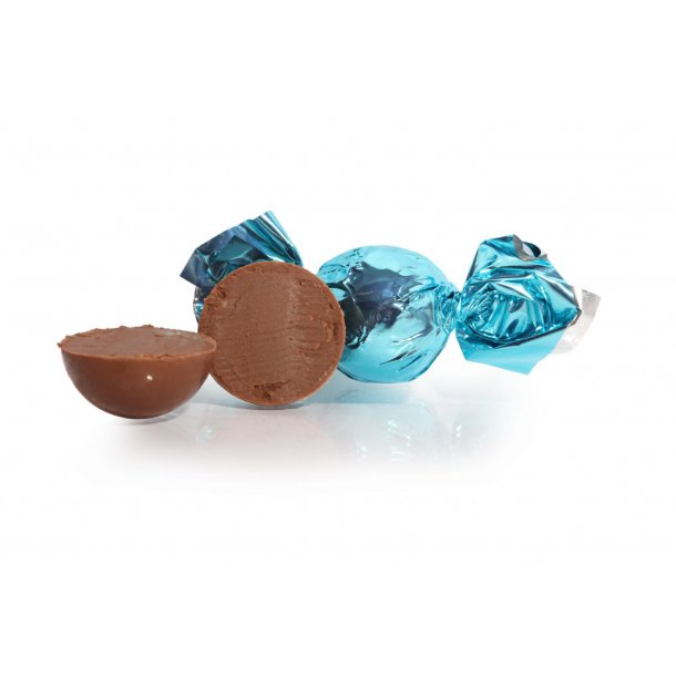 Fyldt Cocoture chokoladekugle i turkis flødechokolade m/amaretto
