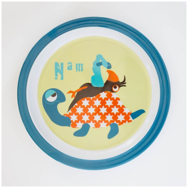 Flad tallerken m. dyr (blå)