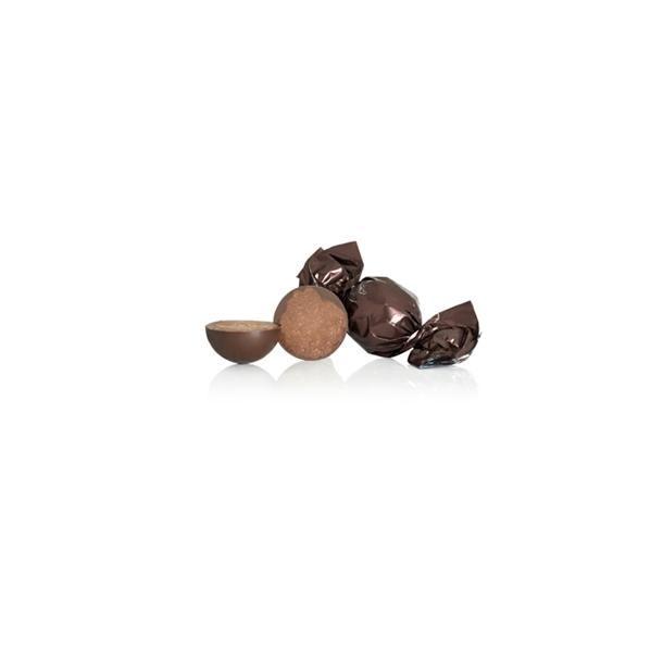 Brun chokoladekugle nougat-trøfler med mint