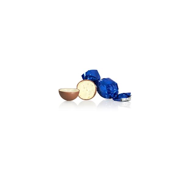 Blå chokoladekugle af hvid chokolade