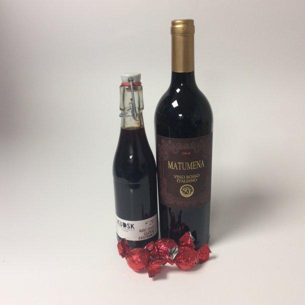 Gavepose med julegløgg og vin