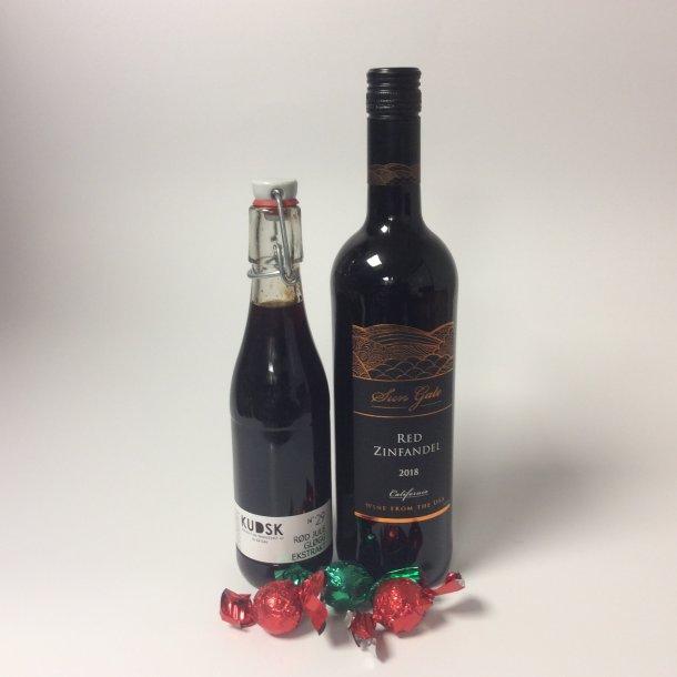 Gavepose med julegløgg og zinfandel vin