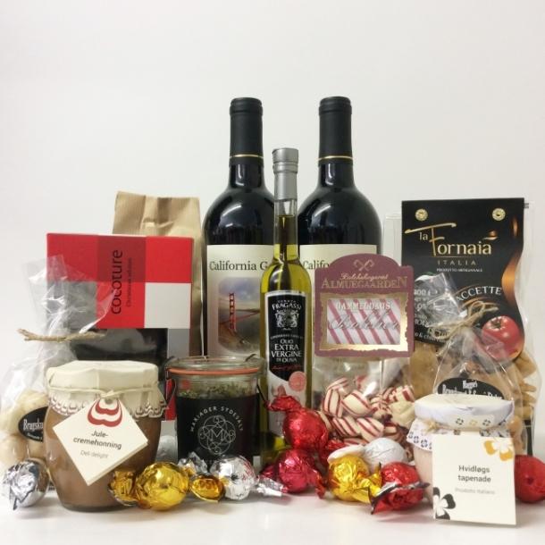 Blandet julekurv med vin